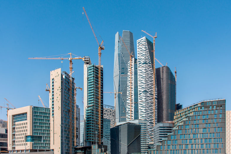 Buildings being constructed in the new King Abdullah Financial District in Riyadh